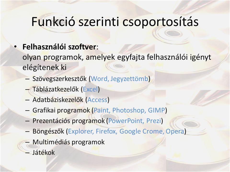 Funkció szerinti csoportosítás Felhasználói szoftver: olyan programok, amelyek egyfajta felhasználói igényt elégítenek ki – Szövegszerkesztők (Word, J