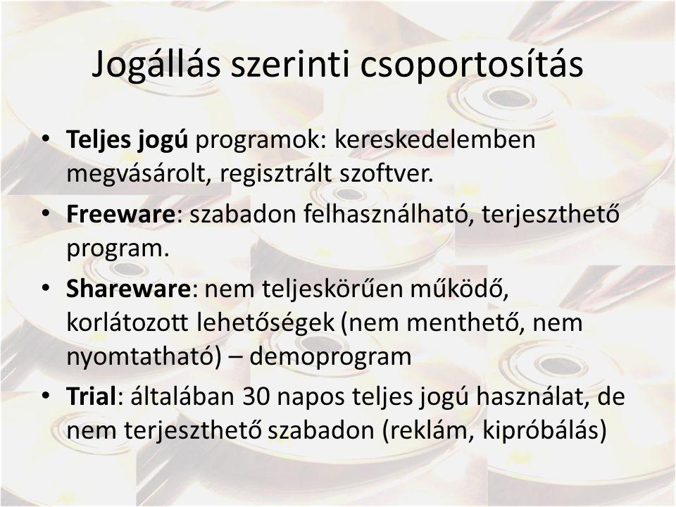 Jogállás szerinti csoportosítás Teljes jogú programok: kereskedelemben megvásárolt, regisztrált szoftver.
