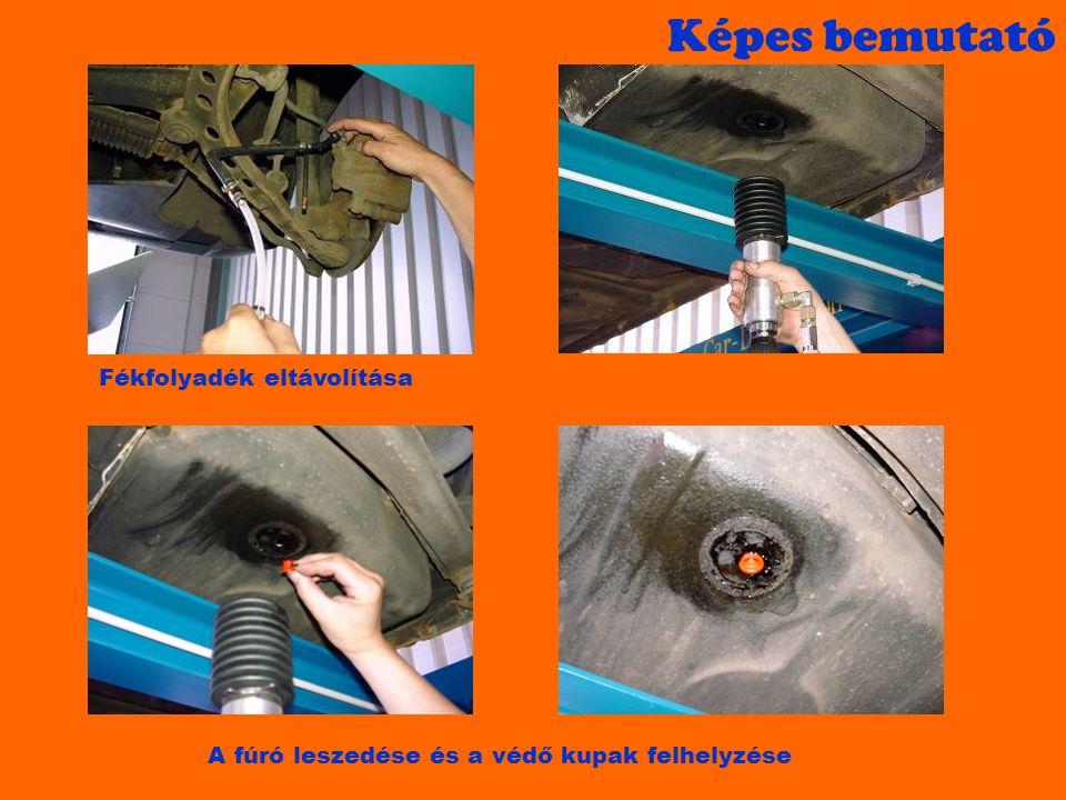 Képes bemutató Fékfolyadék eltávolítása A fúró leszedése és a védő kupak felhelyzése