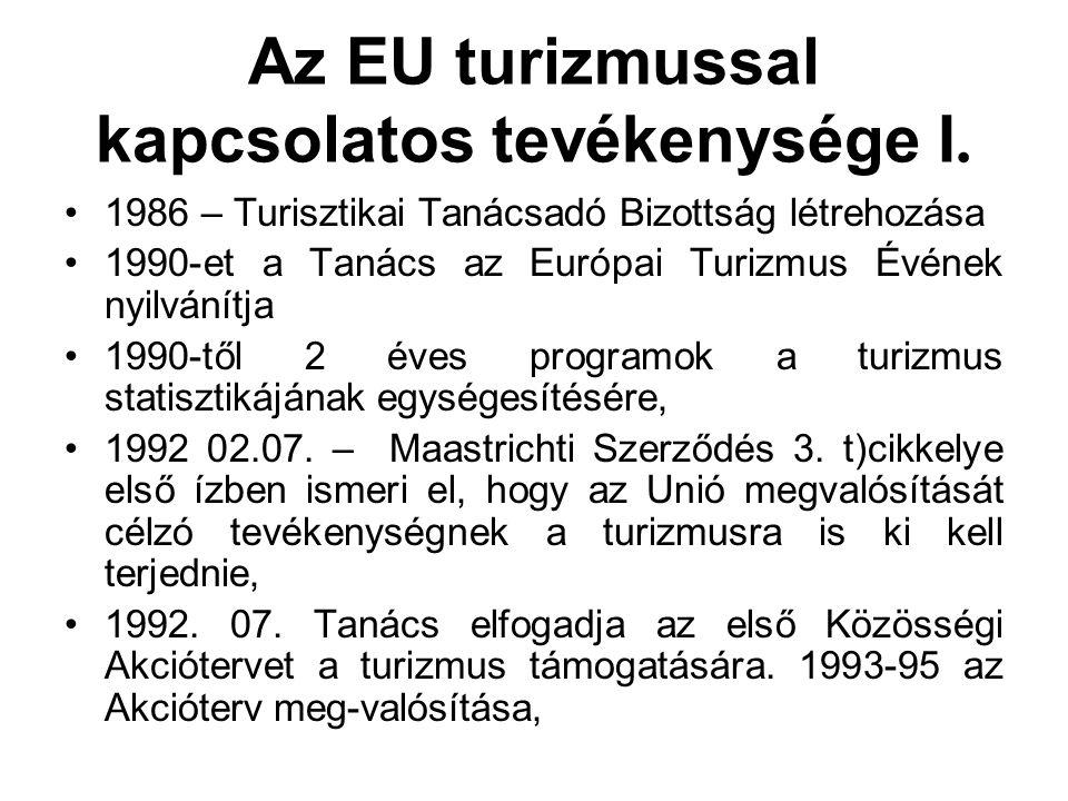 Az EU turizmussal kapcsolatos tevékenysége I. 1986 – Turisztikai Tanácsadó Bizottság létrehozása 1990-et a Tanács az Európai Turizmus Évének nyilvánít