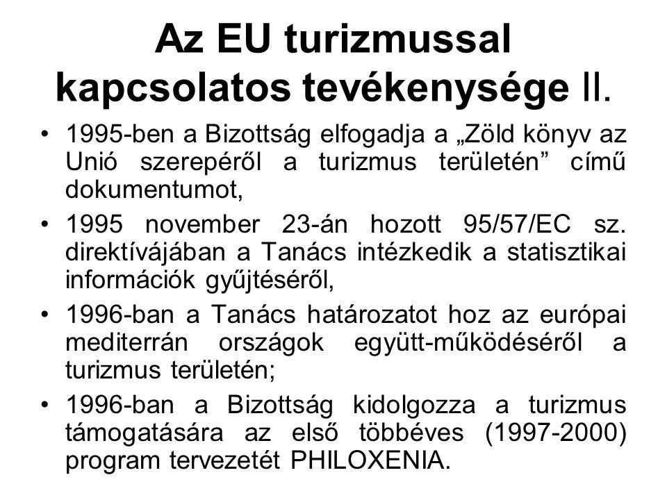 """Az EU turizmussal kapcsolatos tevékenysége II. 1995-ben a Bizottság elfogadja a """"Zöld könyv az Unió szerepéről a turizmus területén"""" című dokumentumot"""