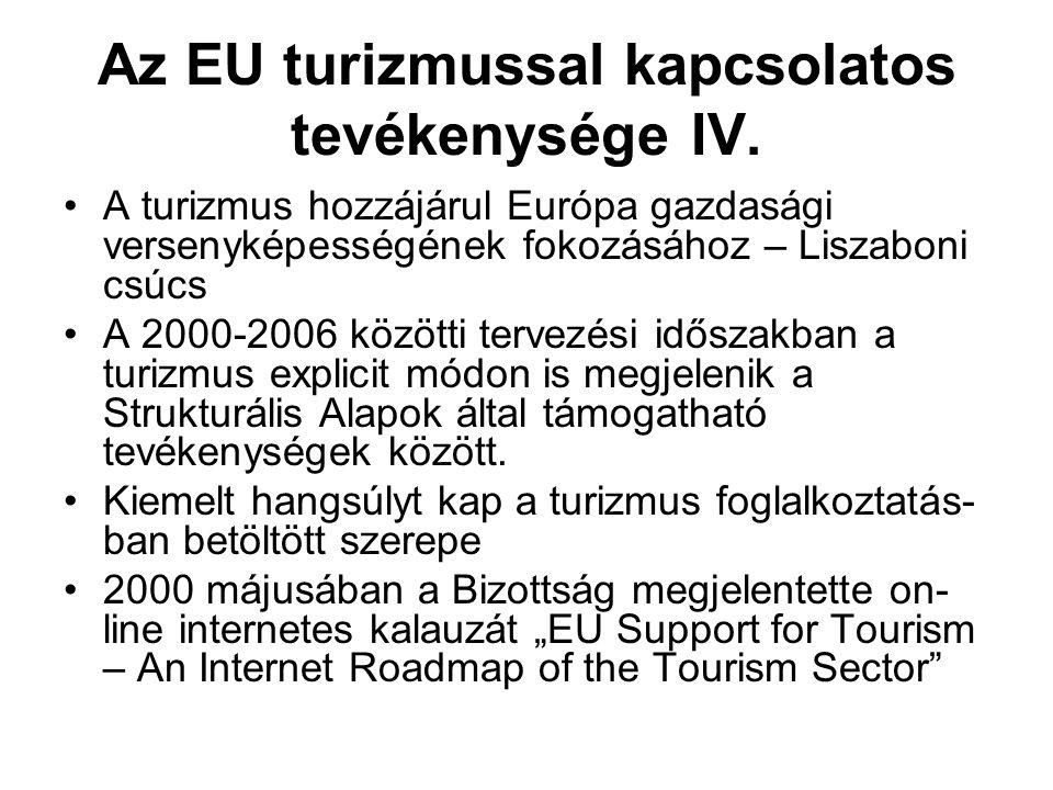 Az EU turizmussal kapcsolatos tevékenysége IV. A turizmus hozzájárul Európa gazdasági versenyképességének fokozásához – Liszaboni csúcs A 2000-2006 kö