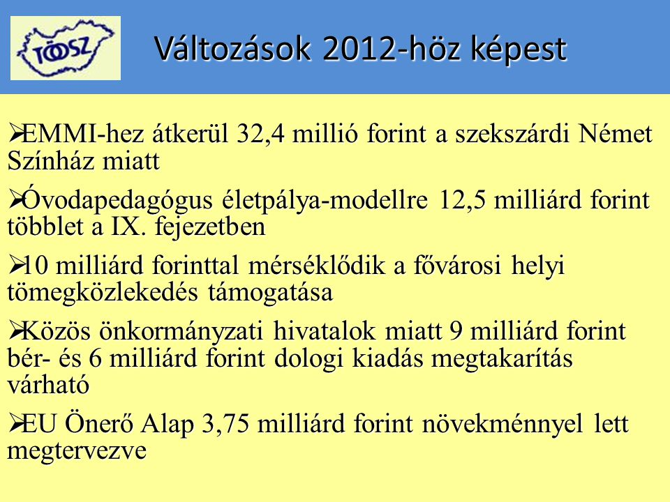Változások 2012-höz képest Változások 2012-höz képest  EMMI-hez átkerül 32,4 millió forint a szekszárdi Német Színház miatt  Óvodapedagógus életpálya-modellre 12,5 milliárd forint többlet a IX.