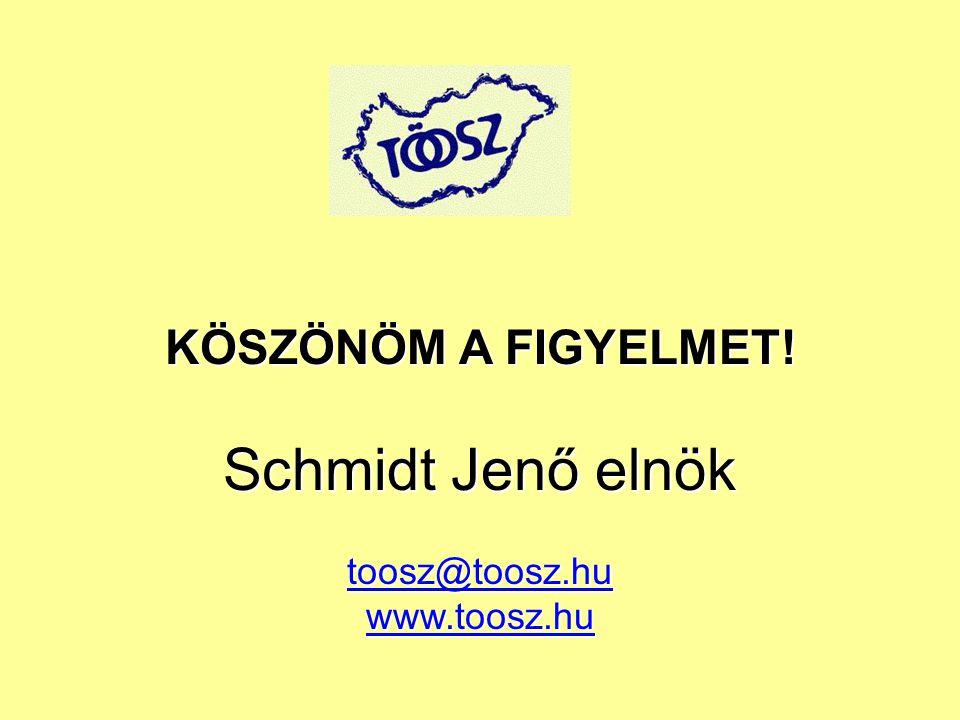 KÖSZÖNÖM A FIGYELMET! Schmidt Jenő elnök toosz@toosz.hu www.toosz.hu