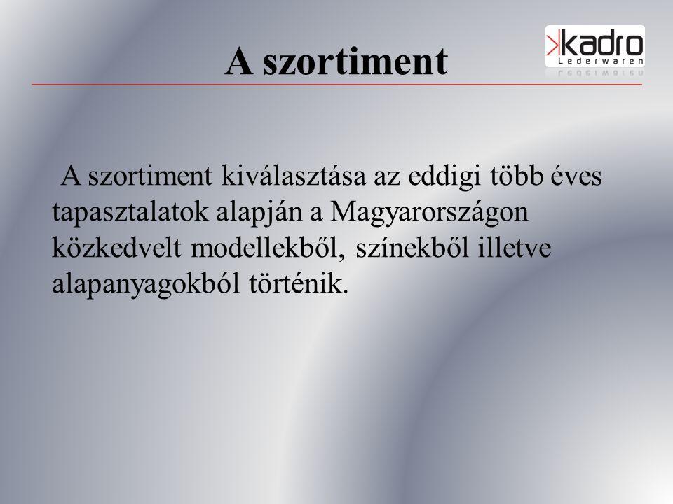 A szortiment A szortiment kiválasztása az eddigi több éves tapasztalatok alapján a Magyarországon közkedvelt modellekből, színekből illetve alapanyagokból történik.