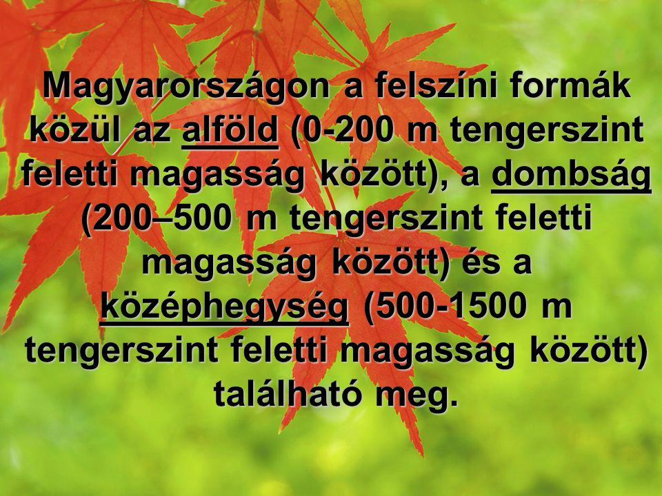 Magyarországon a felszíni formák közül az alföld (0-200 m tengerszint feletti magasság között), a dombság (200–500 m tengerszint feletti magasság közö