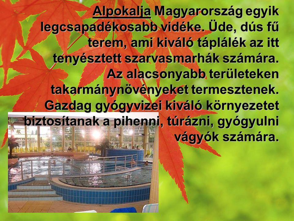 Alpokalja Magyarország egyik legcsapadékosabb vidéke. Üde, dús fű terem, ami kiváló táplálék az itt tenyésztett szarvasmarhák számára. Az alacsonyabb
