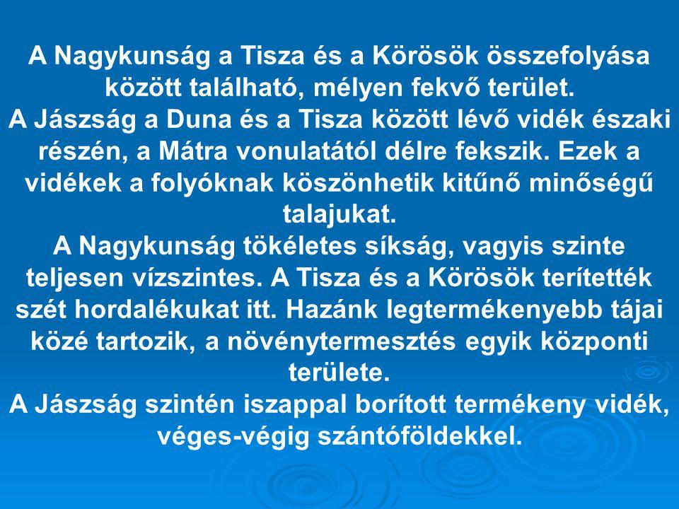 A Nagykunság a Tisza és a Körösök összefolyása között található, mélyen fekvő terület. A Jászság a Duna és a Tisza között lévő vidék északi részén, a