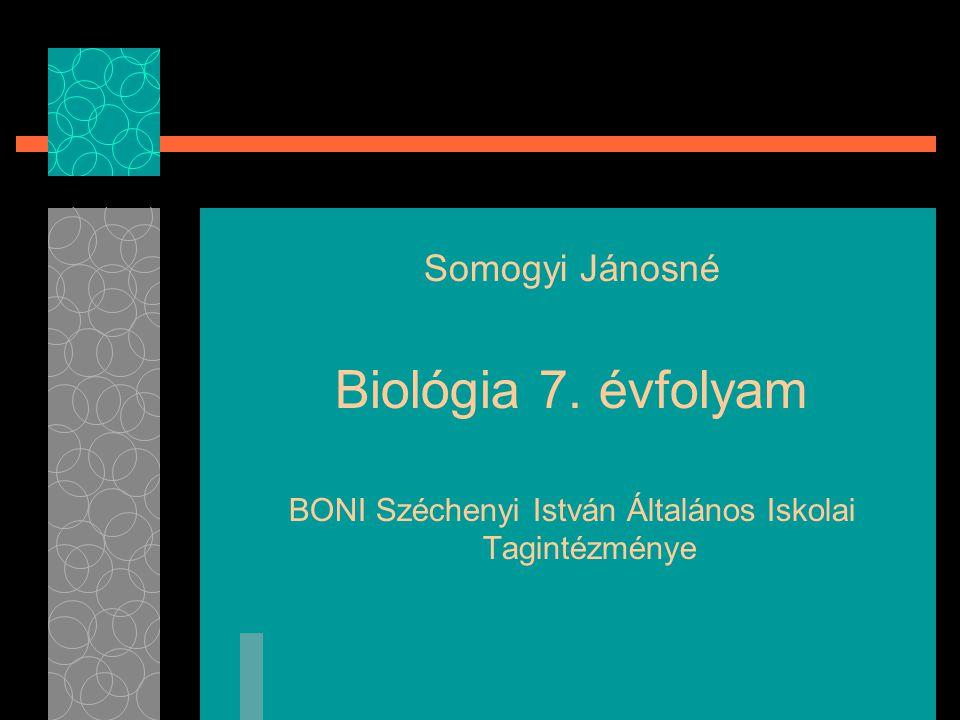 Somogyi Jánosné Biológia 7. évfolyam BONI Széchenyi István Általános Iskolai Tagintézménye