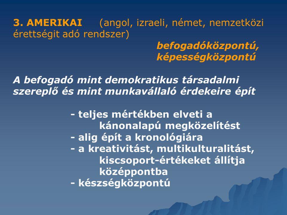 3. AMERIKAI(angol, izraeli, német, nemzetközi érettségit adó rendszer) befogadóközpontú, képességközpontú A befogadó mint demokratikus társadalmi szer