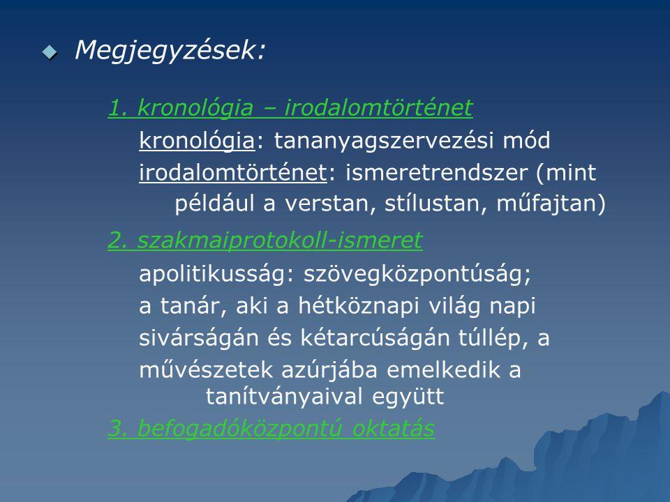   Megjegyzések: 1. kronológia – irodalomtörténet kronológia: tananyagszervezési mód irodalomtörténet: ismeretrendszer (mint például a verstan, stílu