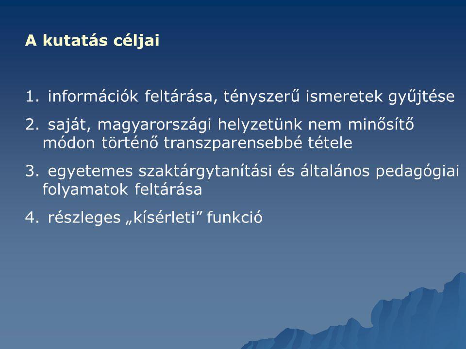 A kutatás céljai 1. információk feltárása, tényszerű ismeretek gyűjtése 2. saját, magyarországi helyzetünk nem minősítő módon történő transzparensebbé