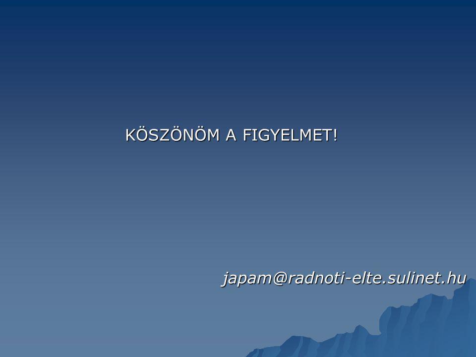 KÖSZÖNÖM A FIGYELMET! KÖSZÖNÖM A FIGYELMET!japam@radnoti-elte.sulinet.hu