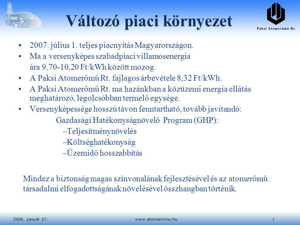 2006. január 27.www.atomeromu.hu5 Változó piaci környezet 2007. július 1. teljes piacnyitás Magyarországon. Ma a versenyképes szabadpiaci villamosener