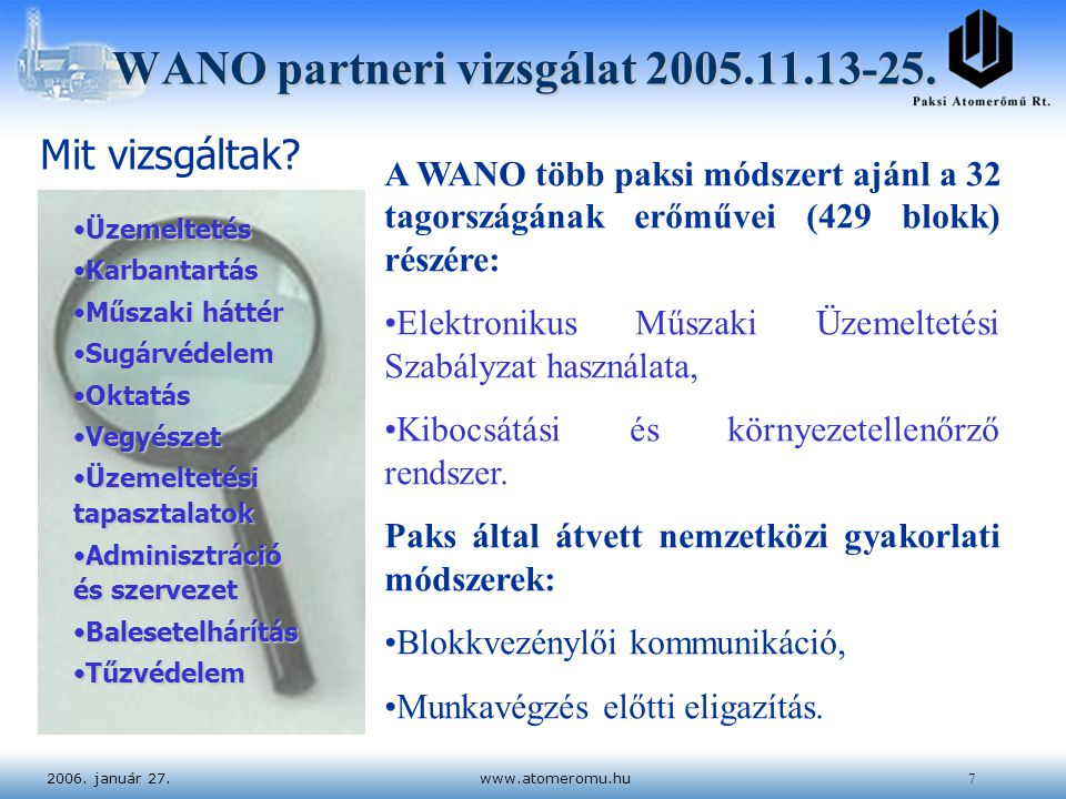 2006. január 27.www.atomeromu.hu8 INES * besorolású események