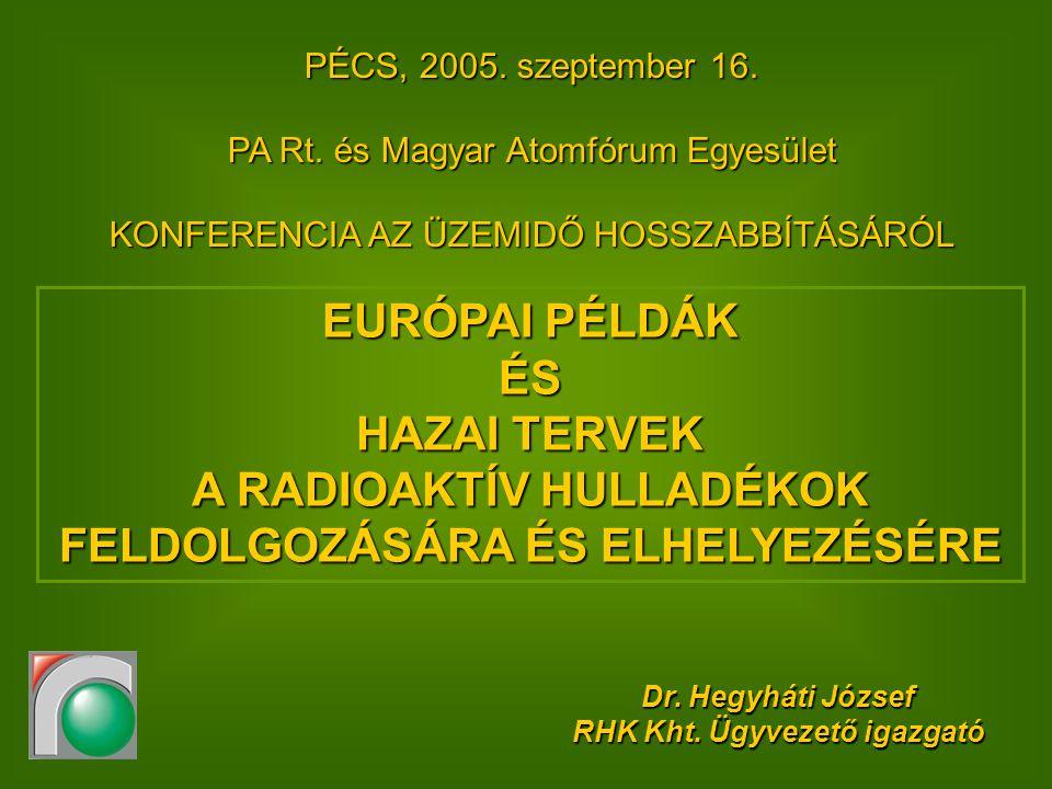 Tartalom Bevezetés (definíciók, elvek, törvényi háttér) Hazai mennyiségi adatok Hazai projektek –RHFT –Bátaapáti –KKÁT –Nyugat-Mecsek Példák Európából és a világból Összegzés