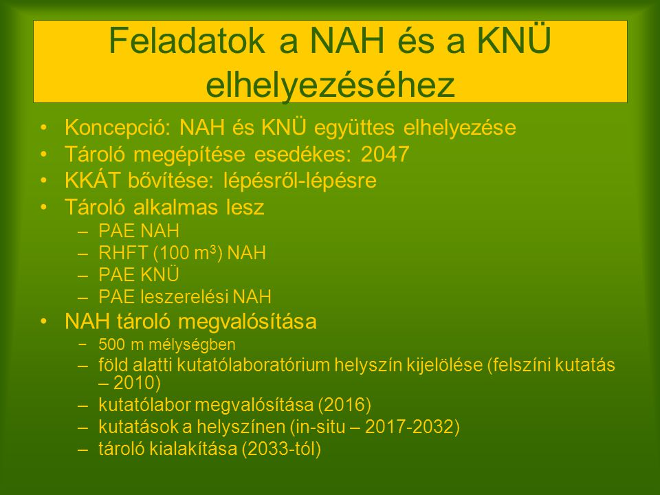 Feladatok a NAH és a KNÜ elhelyezéséhez Koncepció: NAH és KNÜ együttes elhelyezése Tároló megépítése esedékes: 2047 KKÁT bővítése: lépésről-lépésre Tá