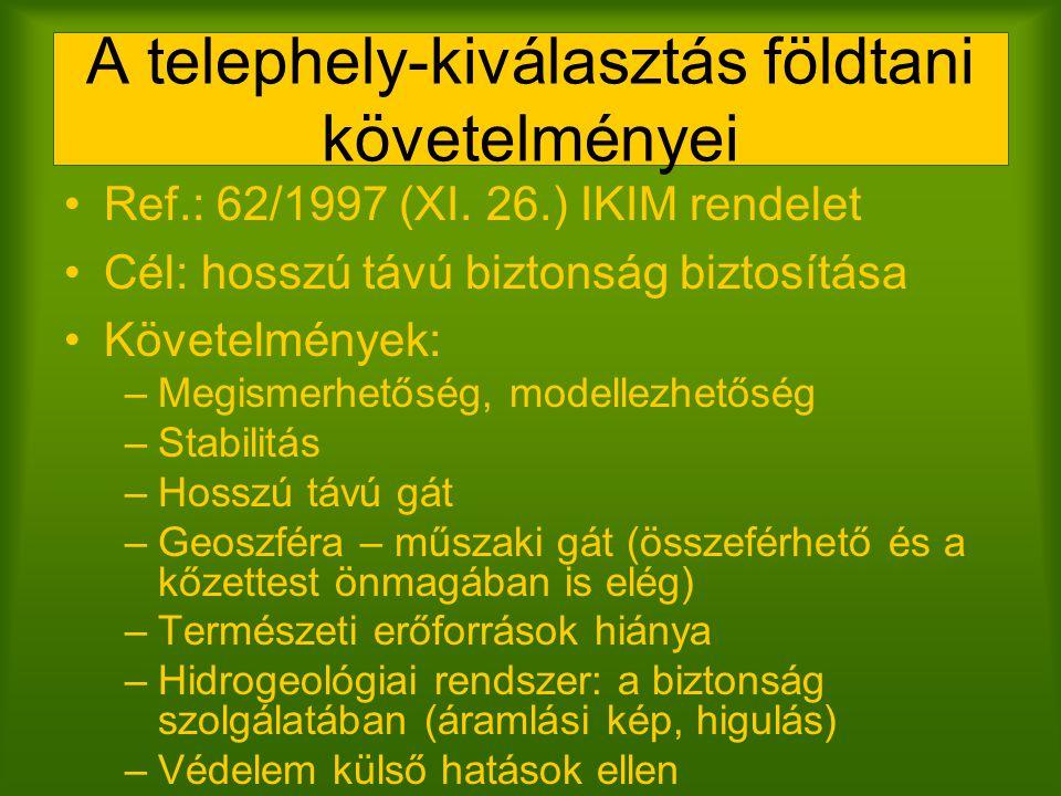 A telephely-kiválasztás földtani követelményei Ref.: 62/1997 (XI. 26.) IKIM rendelet Cél: hosszú távú biztonság biztosítása Követelmények: –Megismerhe