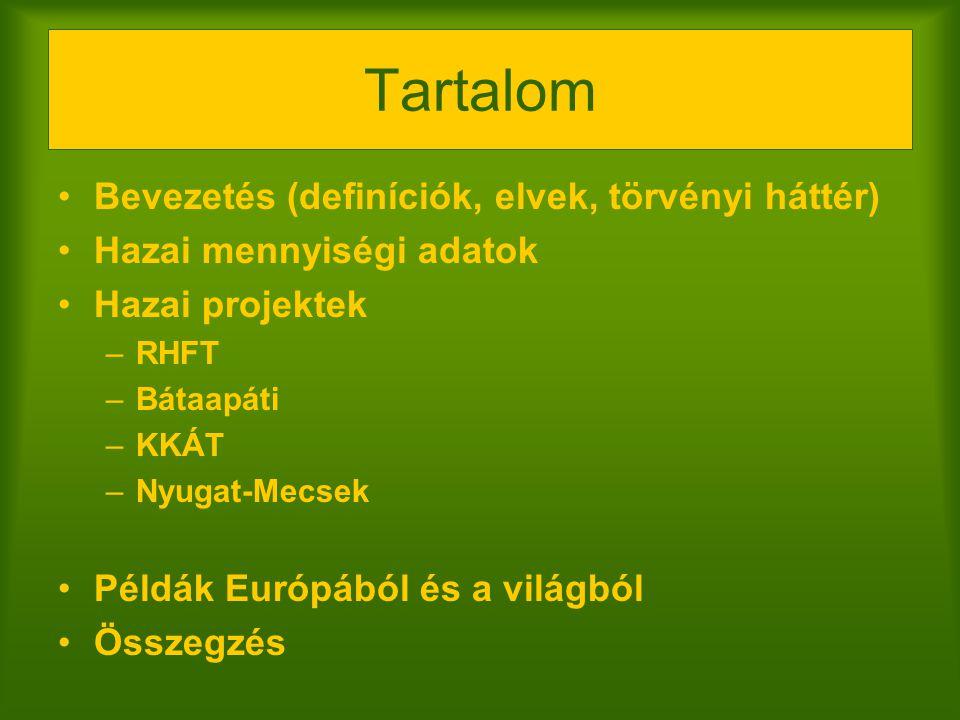 Tartalom Bevezetés (definíciók, elvek, törvényi háttér) Hazai mennyiségi adatok Hazai projektek –RHFT –Bátaapáti –KKÁT –Nyugat-Mecsek Példák Európából