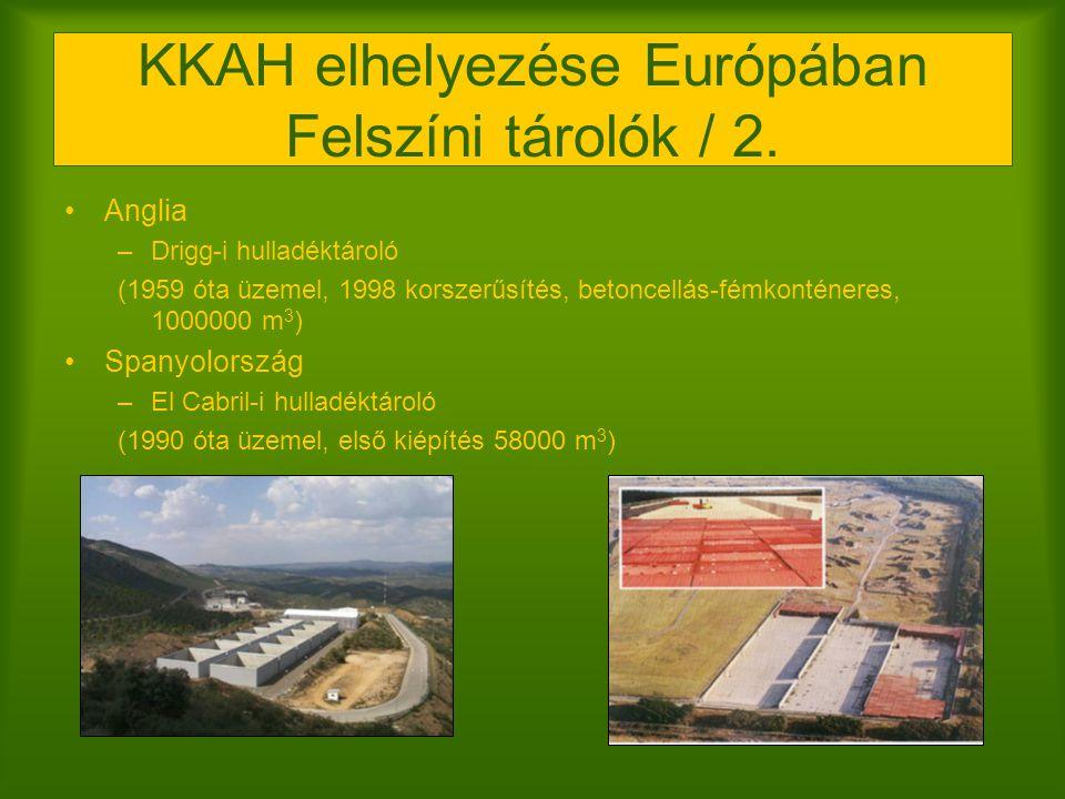 KKAH elhelyezése Európában Felszíni tárolók / 2. Anglia –Drigg-i hulladéktároló (1959 óta üzemel, 1998 korszerűsítés, betoncellás-fémkonténeres, 10000