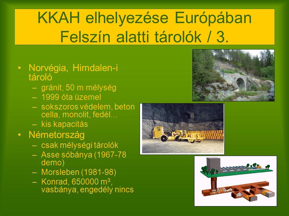 KKAH elhelyezése Európában Felszín alatti tárolók / 3. Norvégia, Himdalen-i tároló –gránit, 50 m mélység –1999 óta üzemel –sokszoros védelem, beton ce