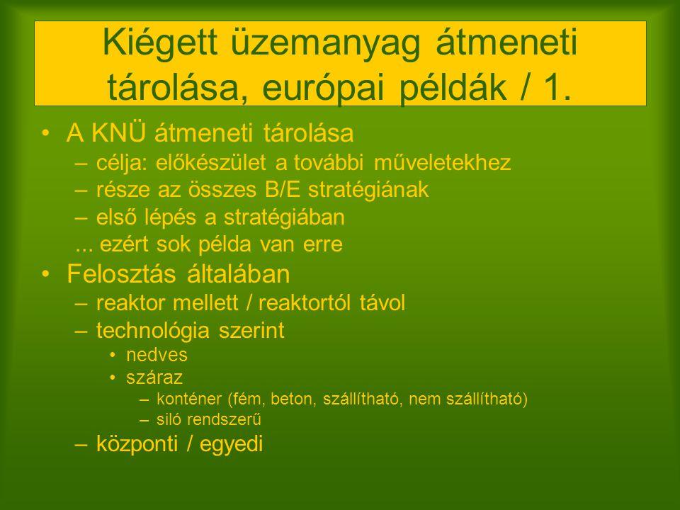 Kiégett üzemanyag átmeneti tárolása, európai példák / 1. A KNÜ átmeneti tárolása –célja: előkészület a további műveletekhez –része az összes B/E strat