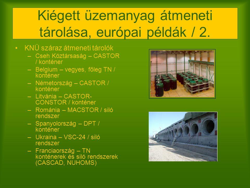 Kiégett üzemanyag átmeneti tárolása, európai példák / 2. KNÜ száraz átmeneti tárolók –Cseh Köztársaság – CASTOR / konténer –Belgium – vegyes, főleg TN
