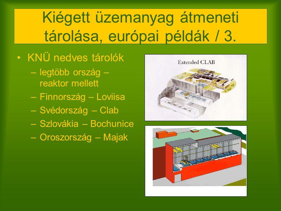Kiégett üzemanyag átmeneti tárolása, európai példák / 3. KNÜ nedves tárolók –legtöbb ország – reaktor mellett –Finnország – Loviisa –Svédország – Clab