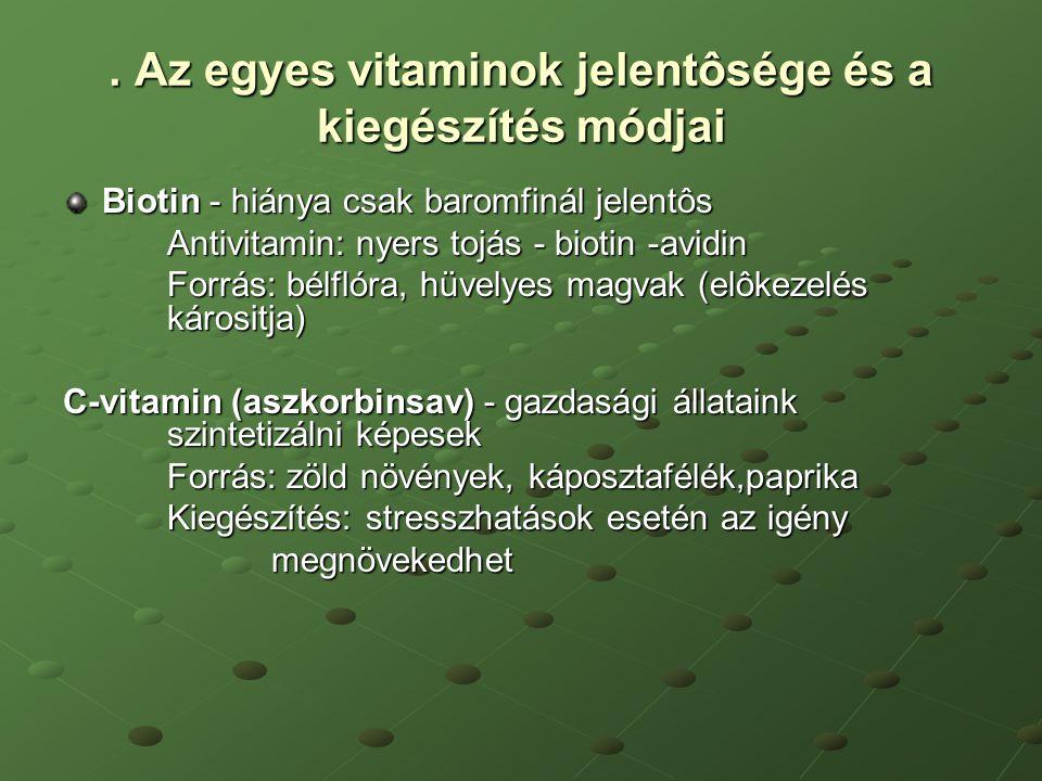 . Az egyes vitaminok jelentôsége és a kiegészítés módjai Biotin - hiánya csak baromfinál jelentôs Antivitamin: nyers tojás - biotin -avidin Forrás: bé