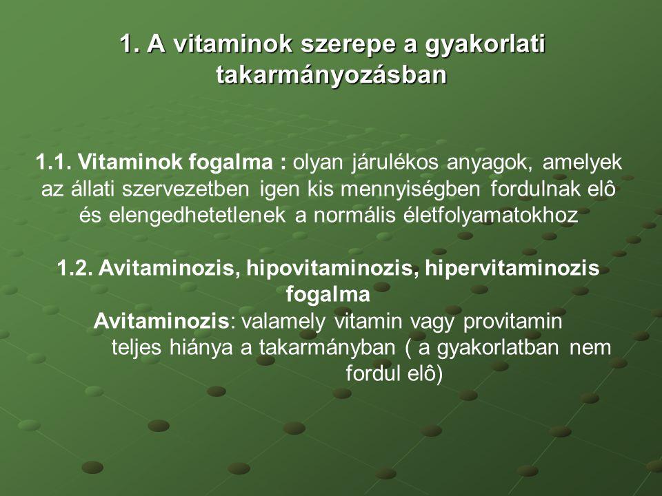1. A vitaminok szerepe a gyakorlati takarmányozásban 1.1. Vitaminok fogalma : olyan járulékos anyagok, amelyek az állati szervezetben igen kis mennyis