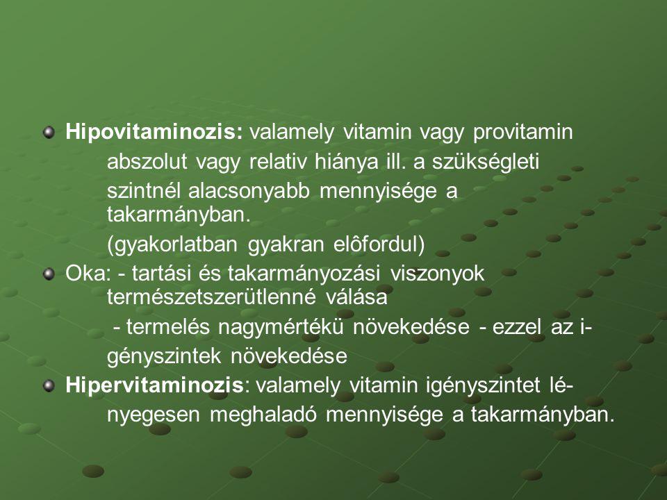 Hipovitaminozis: valamely vitamin vagy provitamin abszolut vagy relativ hiánya ill. a szükségleti szintnél alacsonyabb mennyisége a takarmányban. (gya