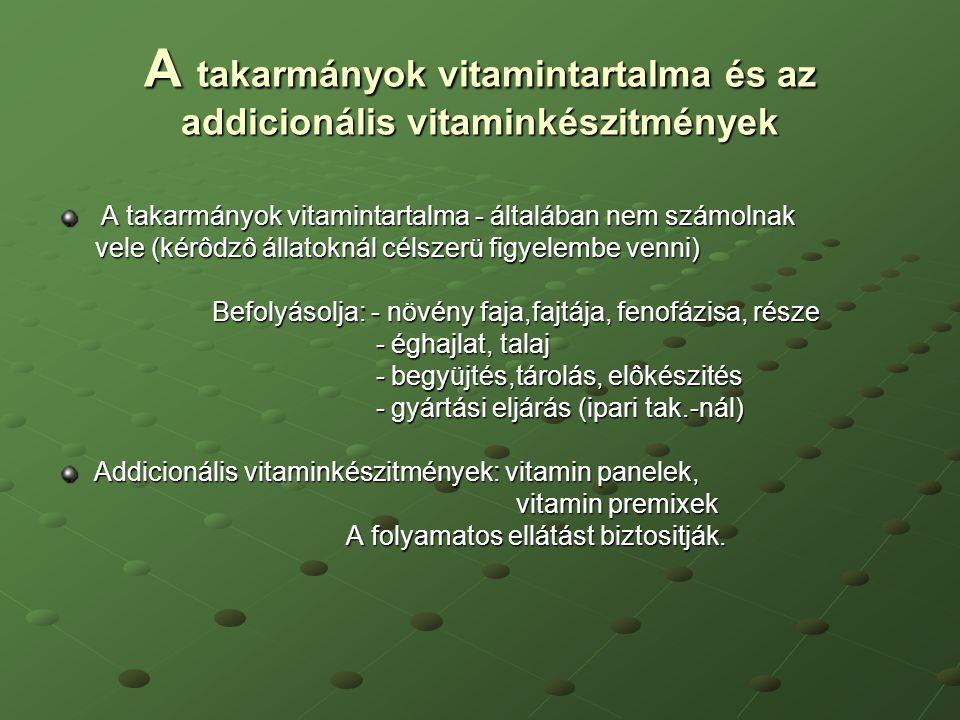 A takarmányok vitamintartalma és az addicionális vitaminkészitmények A takarmányok vitamintartalma - általában nem számolnak A takarmányok vitamintart