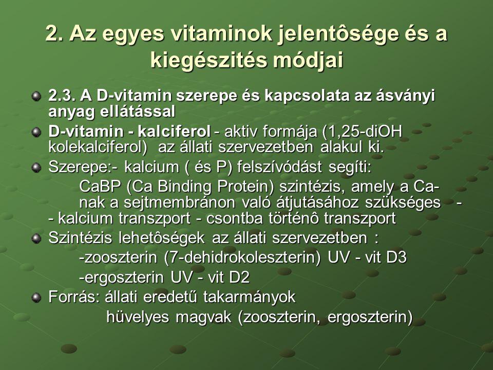 2. Az egyes vitaminok jelentôsége és a kiegészités módjai 2.3. A D-vitamin szerepe és kapcsolata az ásványi anyag ellátással D-vitamin - kalciferol -
