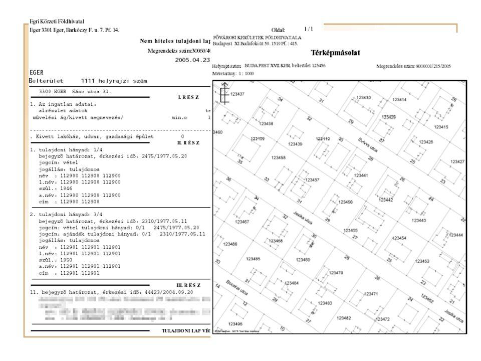 Helyrajziszámozás Házhelyosztás: –Az 50 db-nál kevesebb házhely kialakítása esetén tört helyrajzi számozást alkalmazunk.