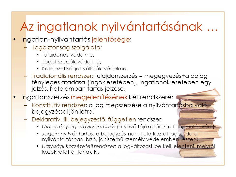 Az ingatlanok nyilvántartásának … Nyilvántartás módja: –Személy szerinti nyilvántartás (perszonálfólia) Állami földkönyv Telekkönyv FÖNYIR –Tárgy szerinti (ingatlanonkénti) nyilvántartás (reálfólia): ingatlan-nyilvántartás.