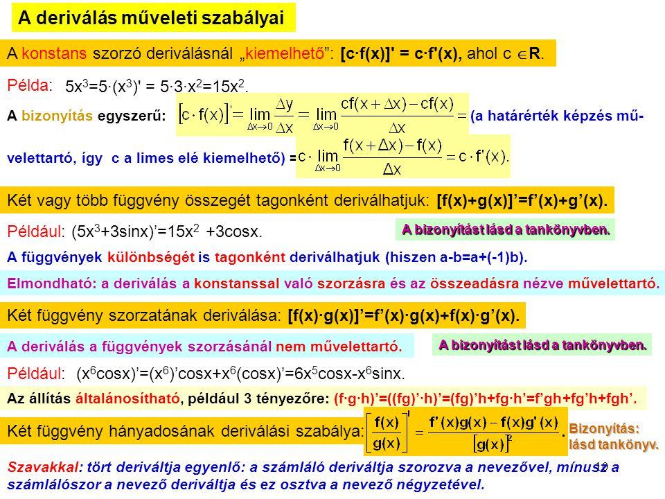 """10 A deriválás műveleti szabályai A konstans szorzó deriválásnál """"kiemelhető"""": [c∙f(x)]' = c∙f'(x), ahol c  R. Példa: 5x 3 =5∙(x 3 )' = 5∙3∙x 2 =15x"""