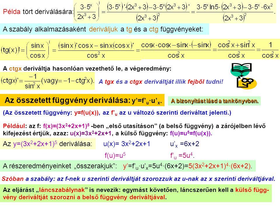 11 Példa tört deriválására: A szabály alkalmazásaként deriváljuk a tg és a ctg függvényeket: A ctgx deriváltja hasonlóan vezethető le, a végeredmény: