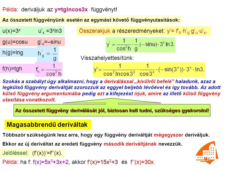 12 Példa: deriváljuk az y=tglncos3x függvényt! Az összetett függvényünk esetén az egymást követő függvényutasítások: u(x)=3 x u' x =3 x ln3 g(u)=cosu