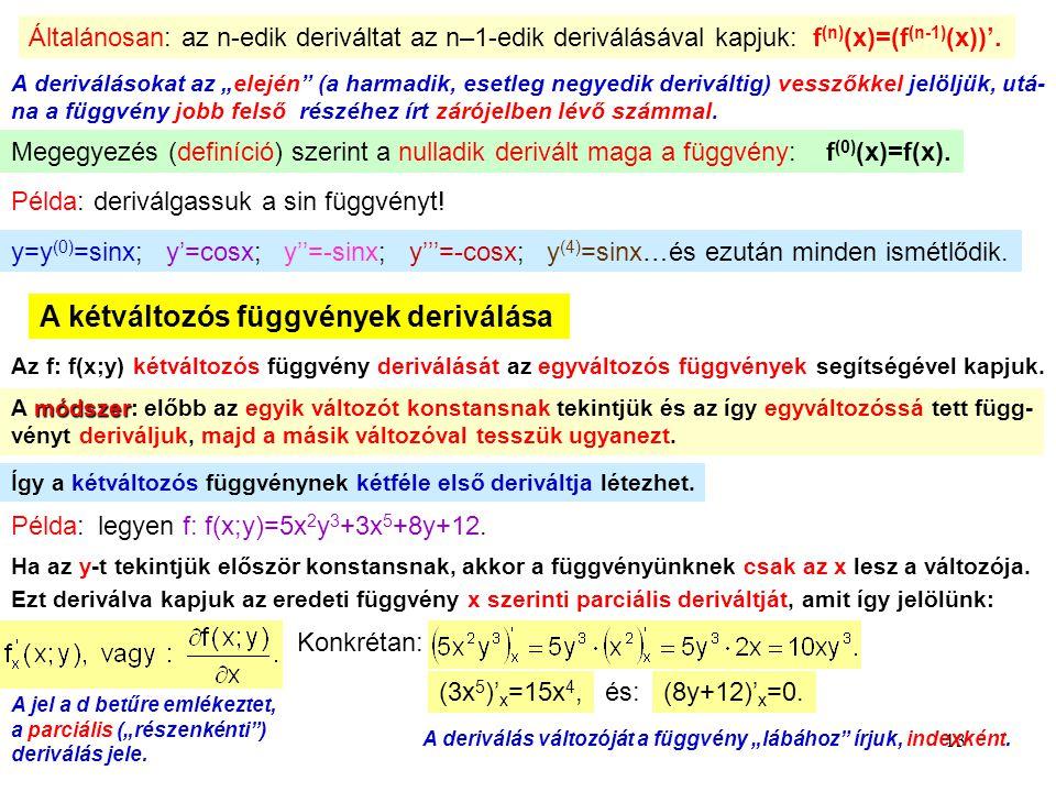 """13 Általánosan: az n-edik deriváltat az n–1-edik deriválásával kapjuk: f (n) (x)=(f (n-1) (x))'. A deriválásokat az """"elején"""" (a harmadik, esetleg negy"""