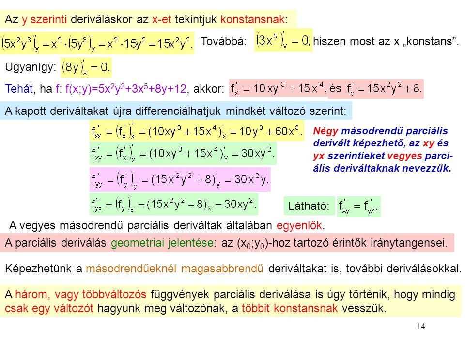 """14 Az y szerinti deriváláskor az x-et tekintjük konstansnak: Továbbá: hiszen most az x """"konstans"""". Ugyanígy: Tehát, ha f: f(x;y)=5x 2 y 3 +3x 5 +8y+12"""