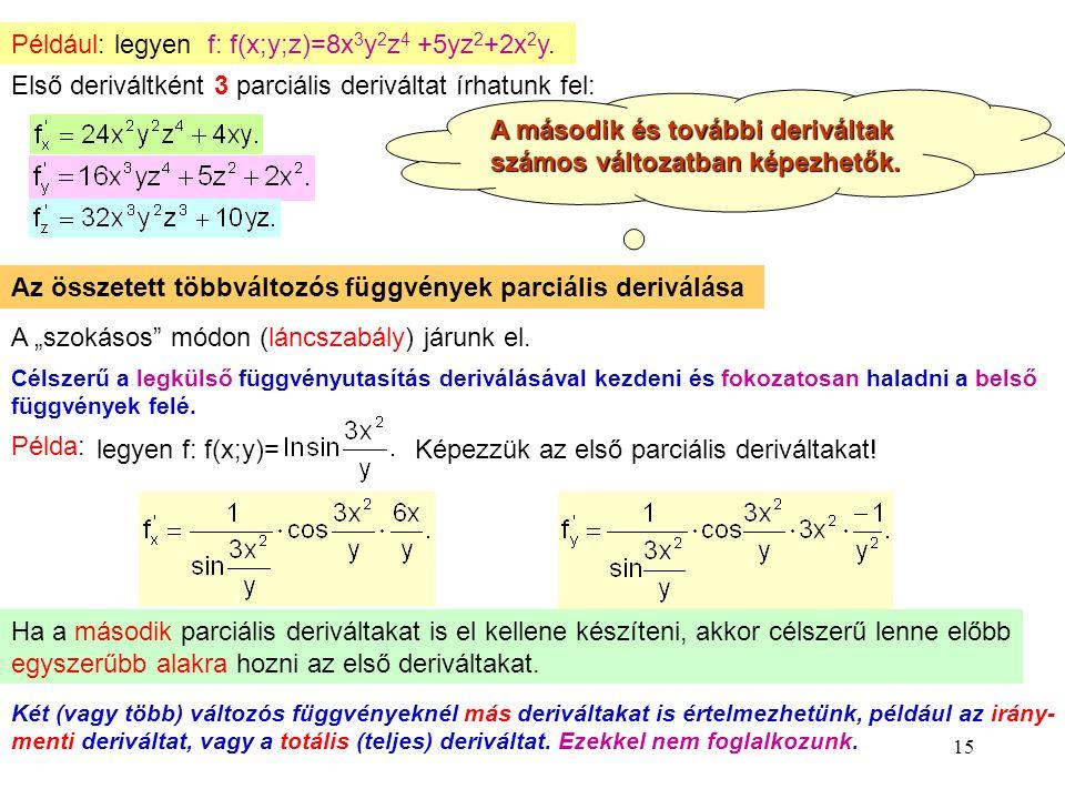 15 Például: legyen f: f(x;y;z)=8x 3 y 2 z 4 +5yz 2 +2x 2 y. Első deriváltként 3 parciális deriváltat írhatunk fel: A második és további deriváltak szá