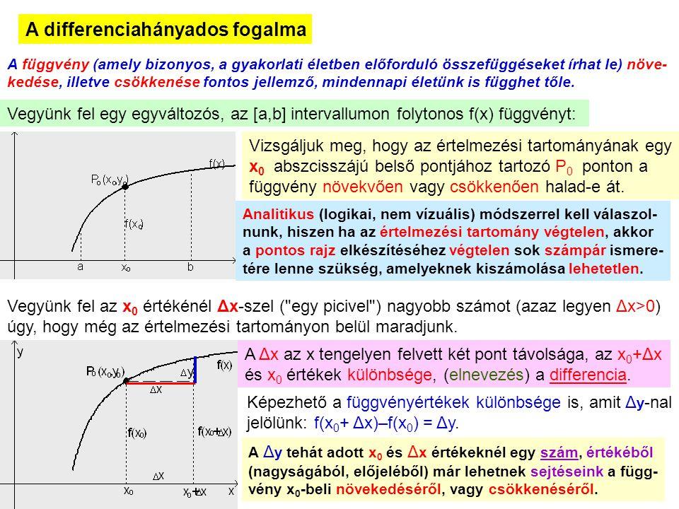 2 A differenciahányados fogalma A függvény (amely bizonyos, a gyakorlati életben előforduló összefüggéseket írhat le) növe- kedése, illetve csökkenése
