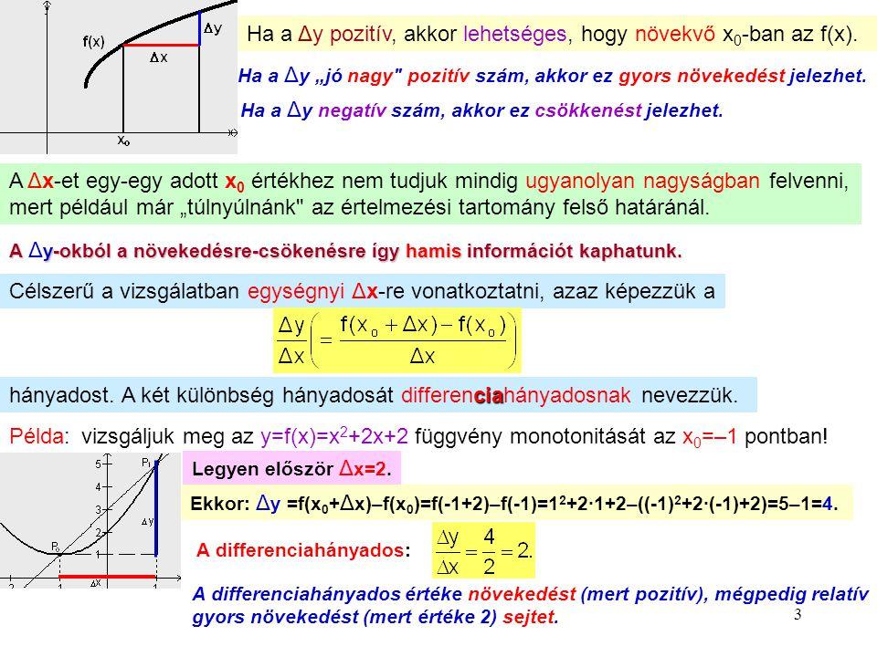 """3 Ha a Δy pozitív, akkor lehetséges, hogy növekvő x 0 -ban az f(x). Ha a Δ y """"jó nagy"""
