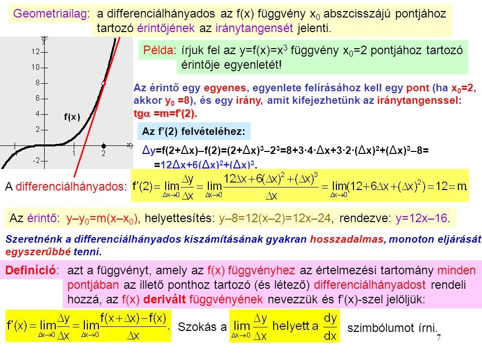 7 Geometriailag:a differenciálhányados az f(x) függvény x 0 abszcisszájú pontjához tartozó érintőjének az iránytangensét jelenti. Példa: írjuk fel az