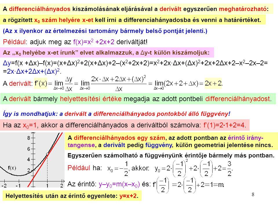 8 A differenciálhányados kiszámolásának eljárásával a derivált egyszerűen meghatározható: a rögzített x0 x0 szám helyére x-et kell írni a differenciah