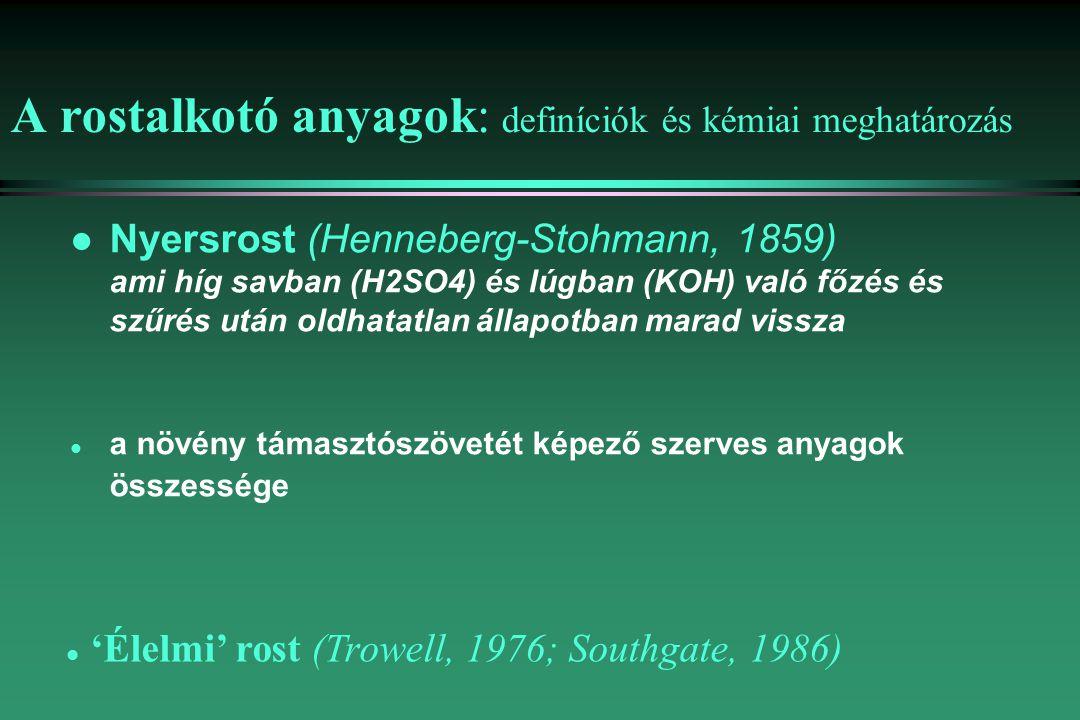 A rostalkotó anyagok: definíciók és kémiai meghatározás l Nyersrost (Henneberg-Stohmann, 1859) ami híg savban (H2SO4) és lúgban (KOH) való főzés és szűrés után oldhatatlan állapotban marad vissza l a növény támasztószövetét képező szerves anyagok összessége l 'Élelmi' rost (Trowell, 1976; Southgate, 1986)