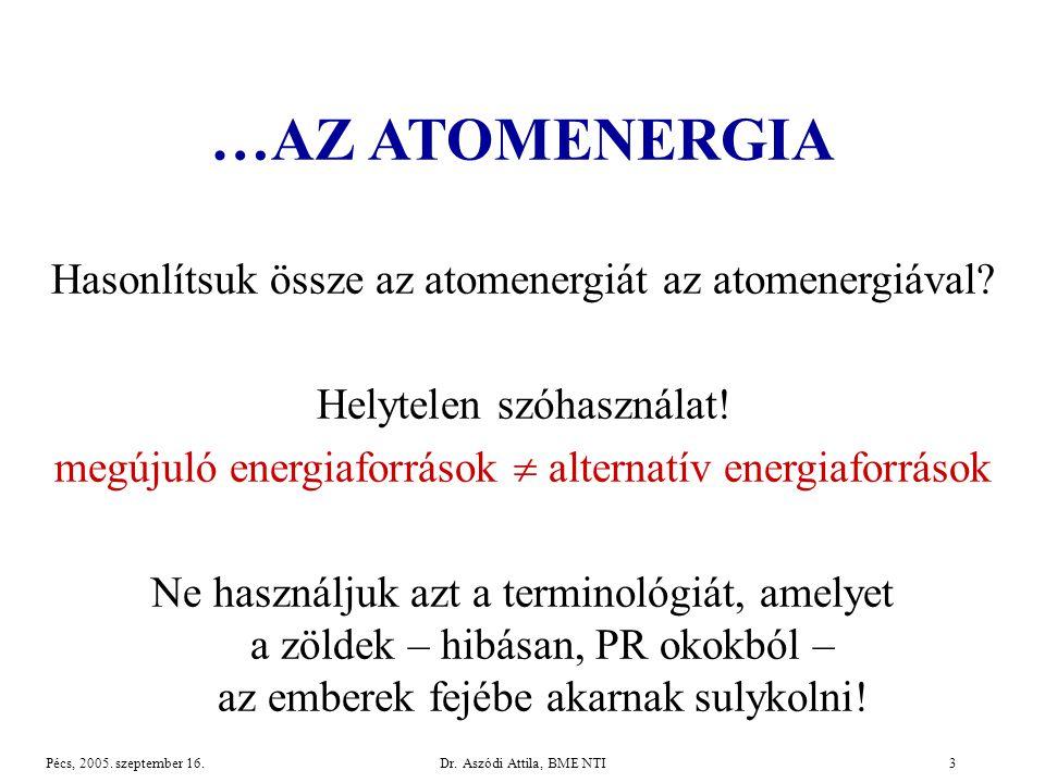 Dr.Aszódi Attila, BME NTI3Pécs, 2005. szeptember 16.