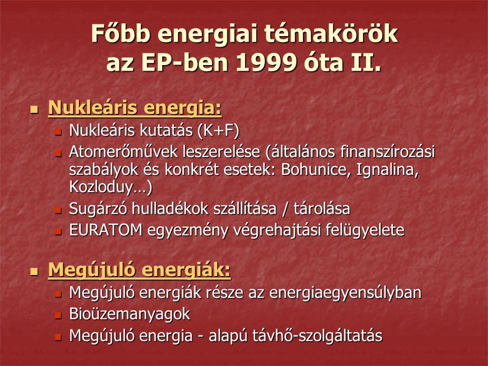 Főbb energiai témakörök az EP-ben 1999 óta II. Nukleáris energia: Nukleáris energia: Nukleáris kutatás (K+F) Nukleáris kutatás (K+F) Atomerőművek lesz