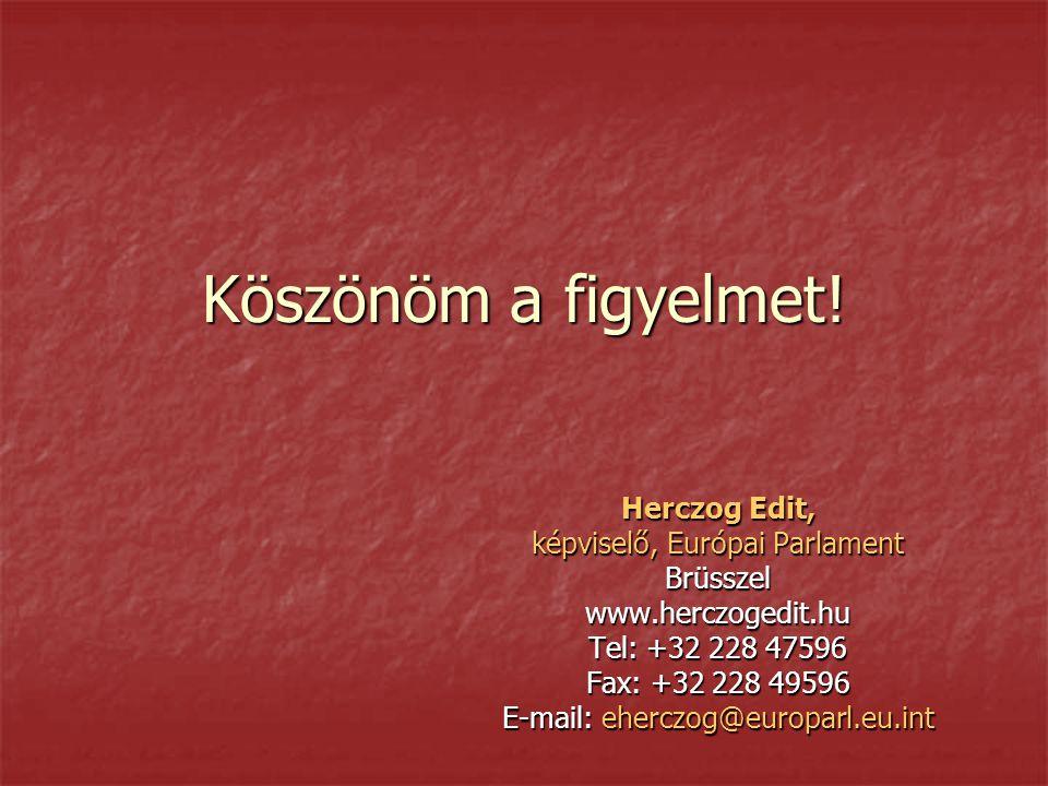 Köszönöm a figyelmet! Herczog Edit, képviselő, Európai Parlament Brüsszelwww.herczogedit.hu Tel: +32 228 47596 Fax: +32 228 49596 E-mail: eherczog@eur