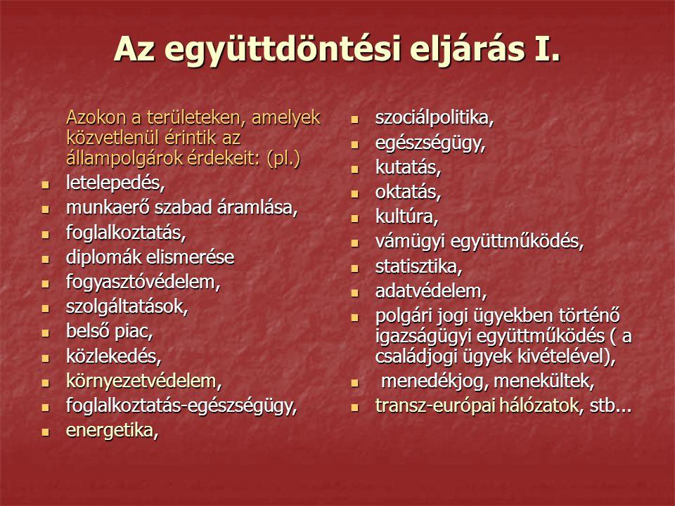 Az együttdöntési eljárás I. Azokon a területeken, amelyek közvetlenül érintik az állampolgárok érdekeit: (pl.) letelepedés, letelepedés, munkaerő szab